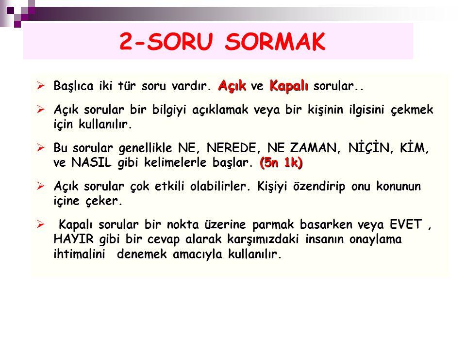 2-SORU SORMAK Başlıca iki tür soru vardır. Açık ve Kapalı sorular..