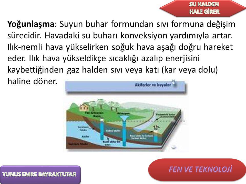 Yoğunlaşma: Suyun buhar formundan sıvı formuna değişim sürecidir