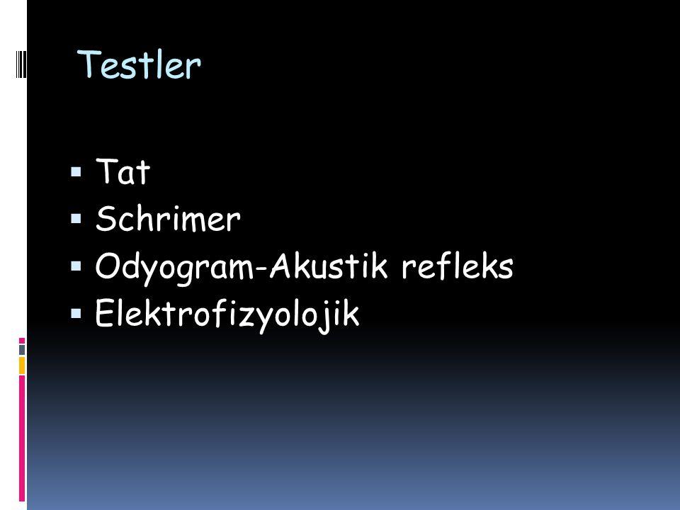 Testler Tat Schrimer Odyogram-Akustik refleks Elektrofizyolojik