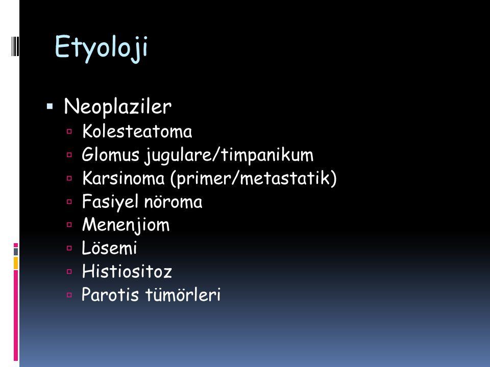 Etyoloji Neoplaziler Kolesteatoma Glomus jugulare/timpanikum