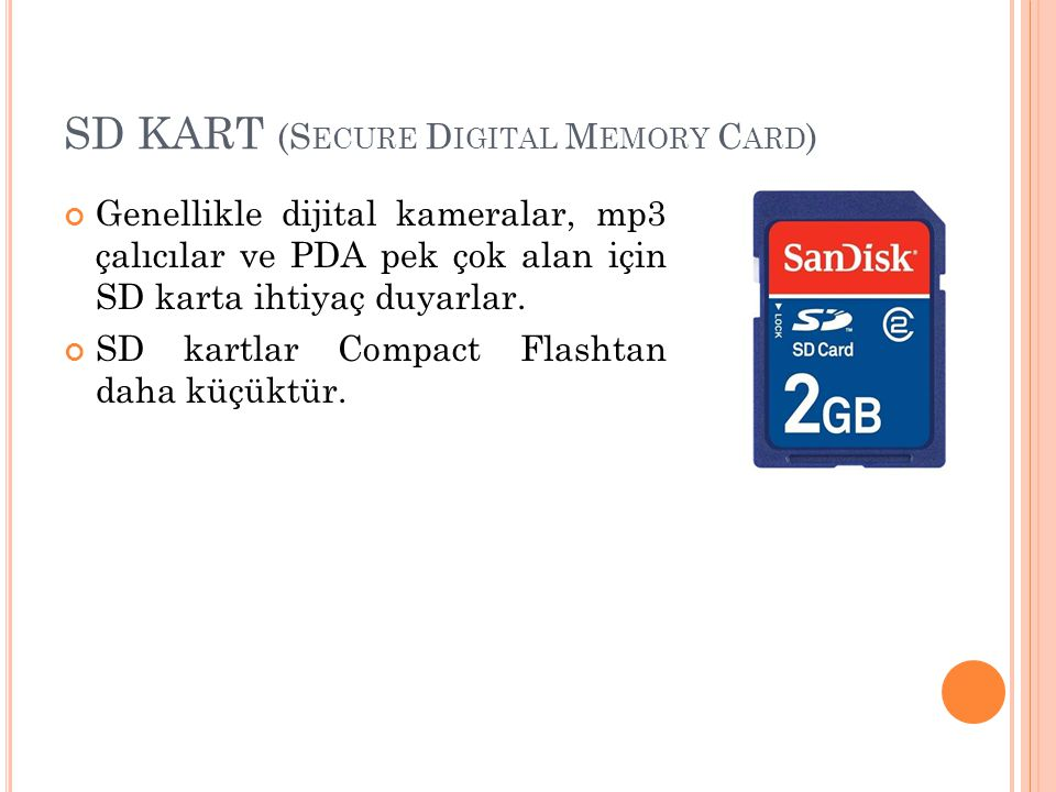 SD KART (Secure Digital Memory Card)
