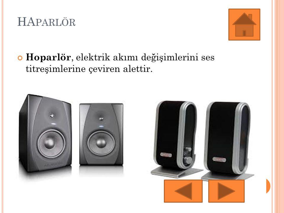 HAparlör Hoparlör, elektrik akımı değişimlerini ses titreşimlerine çeviren alettir.