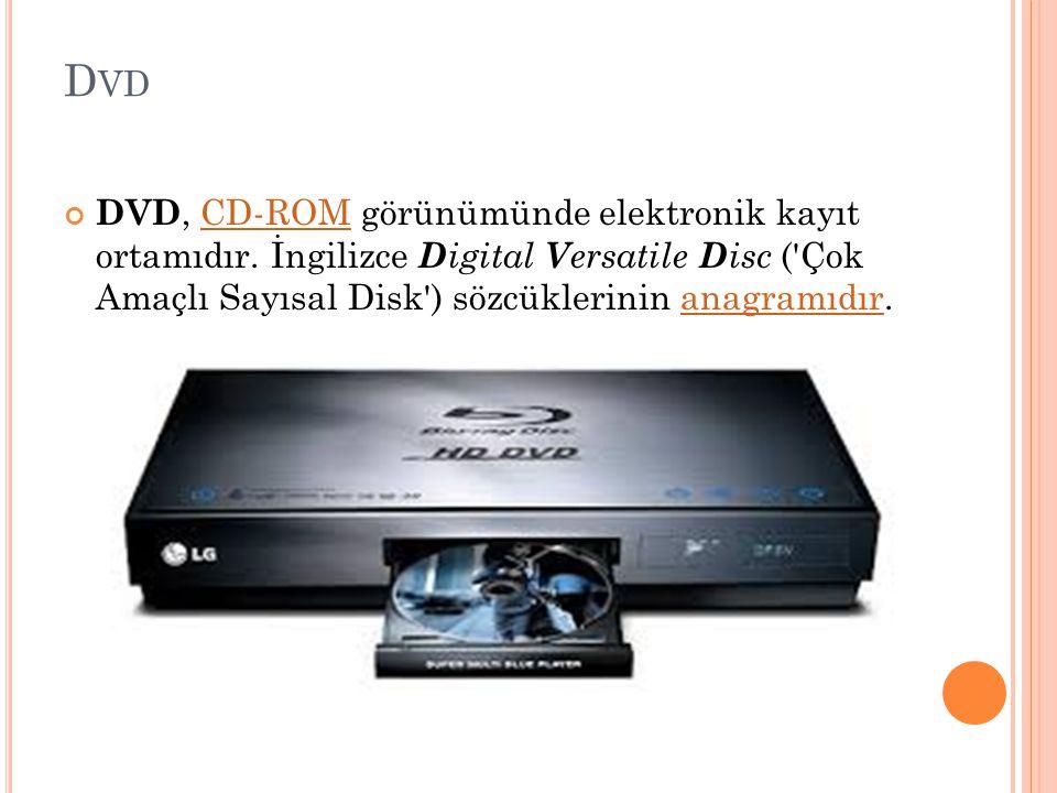 Dvd DVD, CD-ROM görünümünde elektronik kayıt ortamıdır.