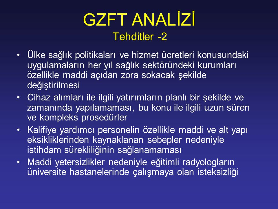 GZFT ANALİZİ Tehditler -2
