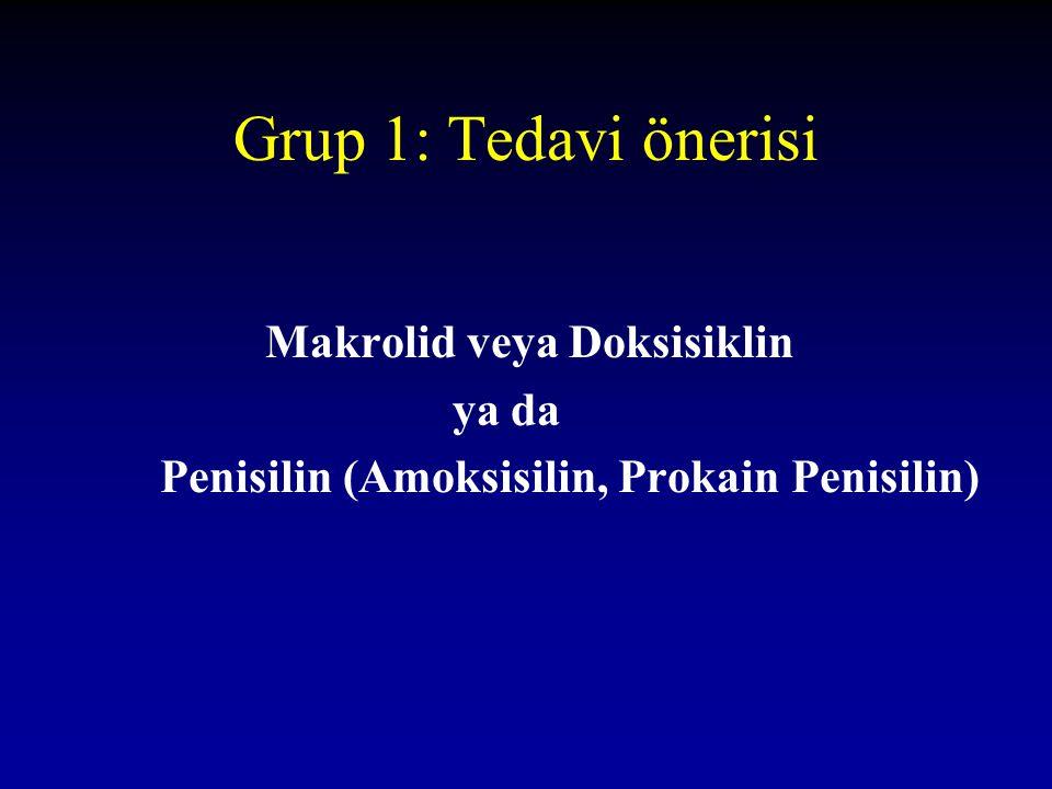 Grup 1: Tedavi önerisi Makrolid veya Doksisiklin ya da
