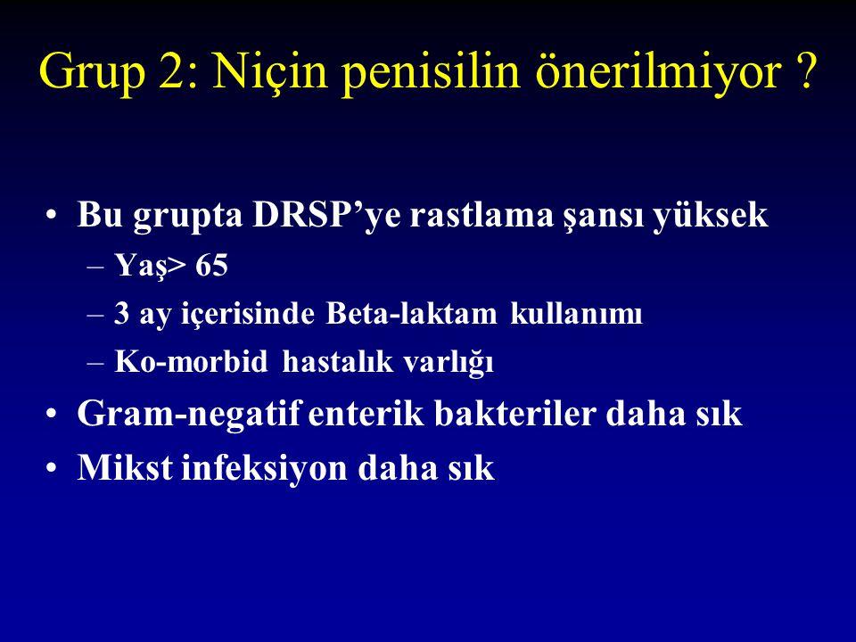 Grup 2: Niçin penisilin önerilmiyor