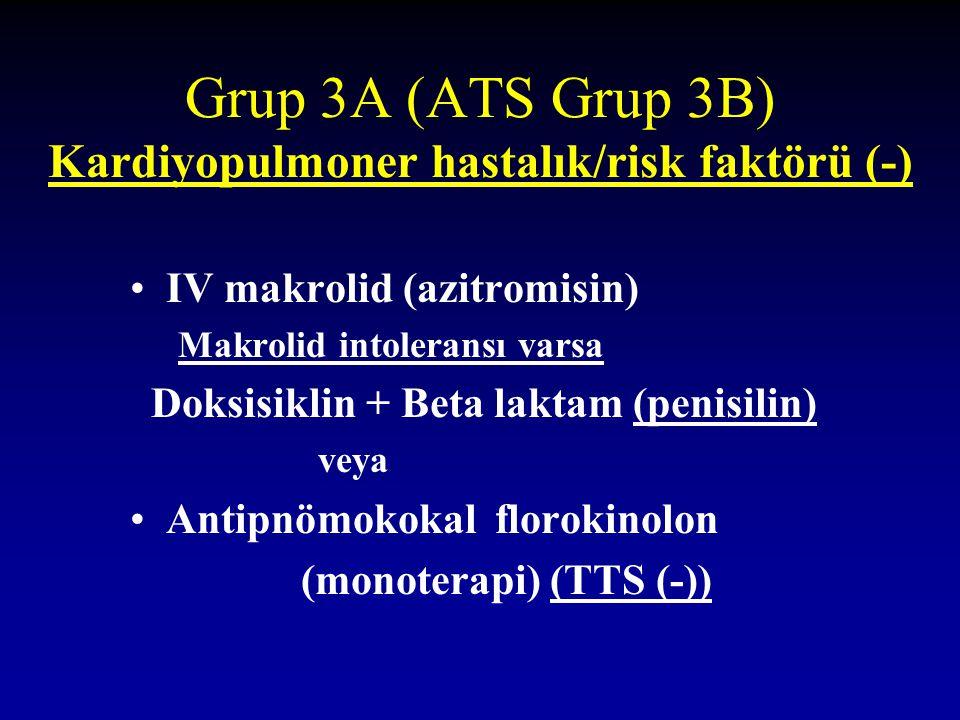 Grup 3A (ATS Grup 3B) Kardiyopulmoner hastalık/risk faktörü (-)