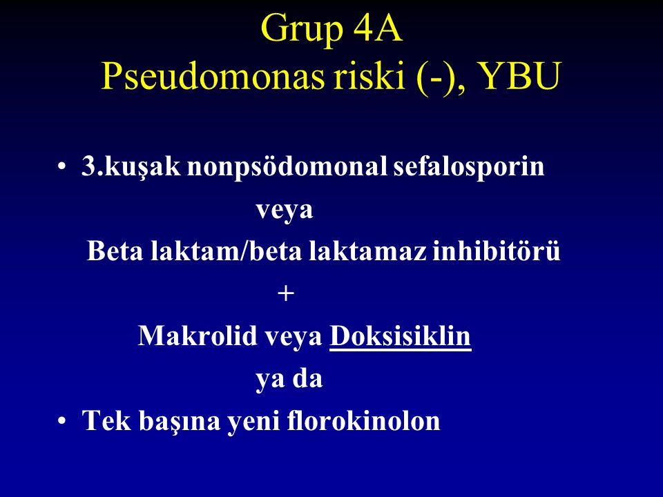 Grup 4A Pseudomonas riski (-), YBU