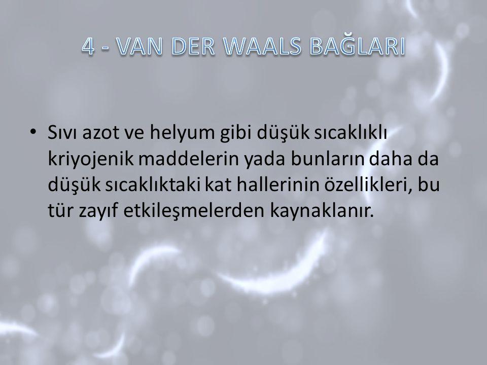 4 - VAN DER WAALS BAĞLARI