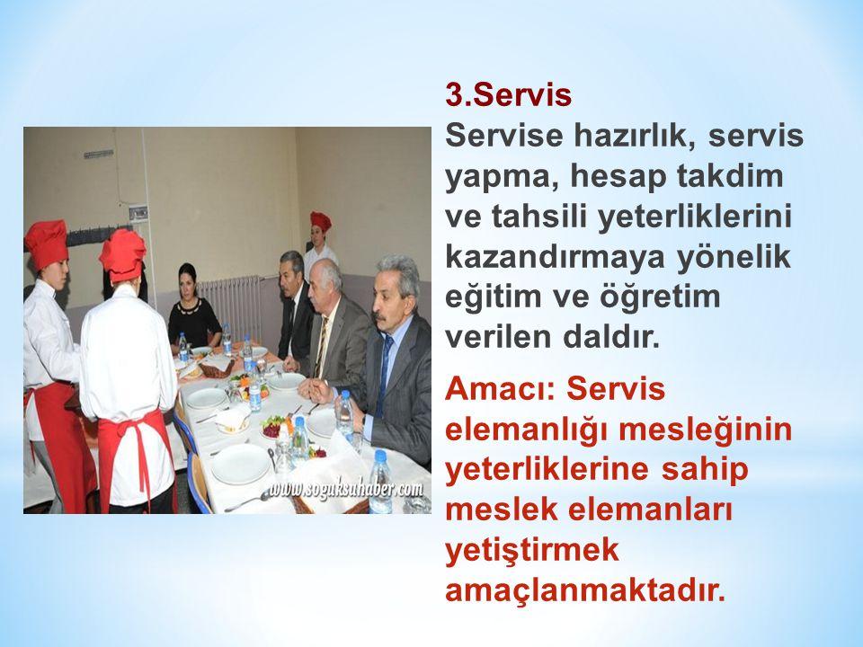 3.Servis Servise hazırlık, servis yapma, hesap takdim ve tahsili yeterliklerini kazandırmaya yönelik eğitim ve öğretim verilen daldır.