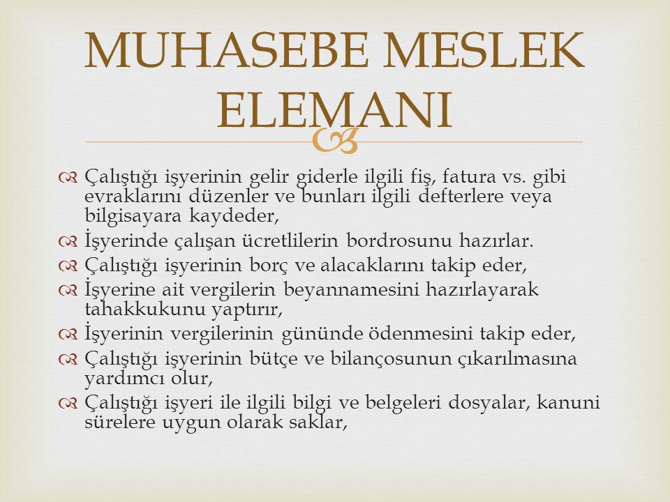 MUHASEBE MESLEK ELEMANI
