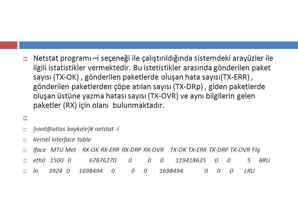Netstat programı –i seçeneği ile çalıştırıldığında sistemdeki arayüzler ile ilgili istatistikler vermektedir. Bu istetistikler arasında gönderilen paket sayısı (TX-OK) , gönderilen paketlerde oluşan hata sayısı(TX-ERR) , gönderilen paketlerden çöpe atılan sayısı (TX-DRp) , giden paketlerde oluşan üstüne yazma hatası sayısı (TX-OVR) ve aynı bilgilerin gelen paketler (RX) için olanı bulunmaktadır.