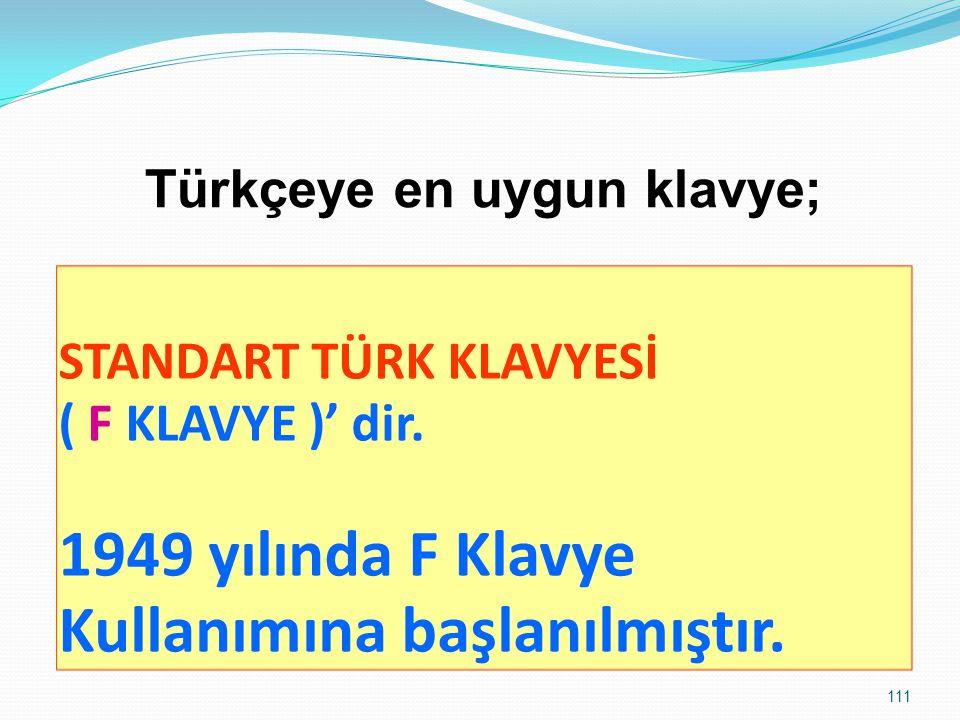 Türkçeye en uygun klavye;