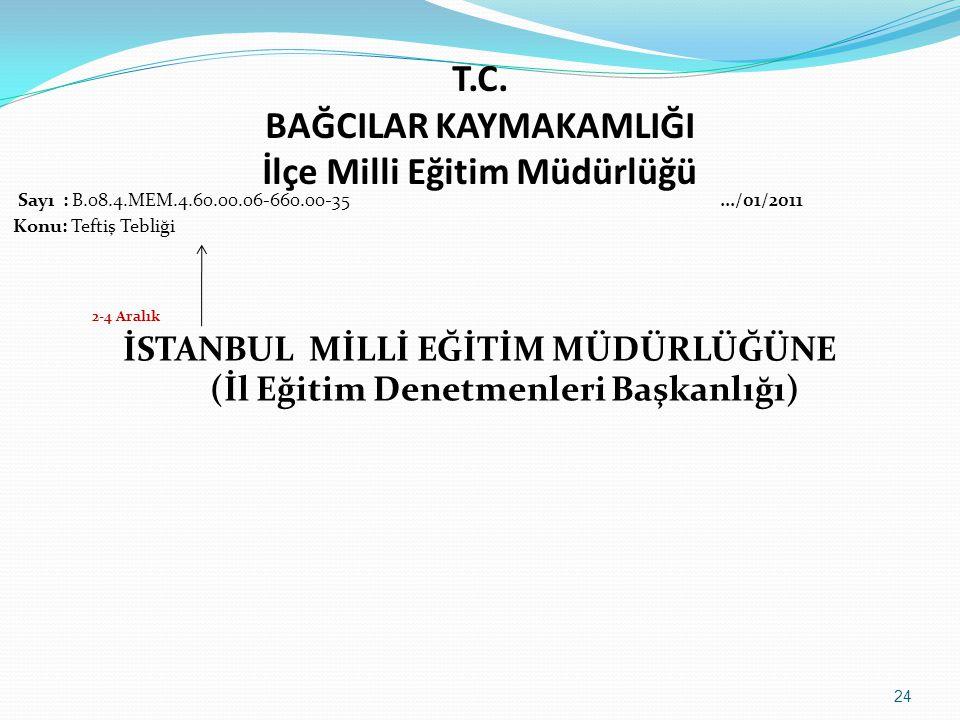 T.C. BAĞCILAR KAYMAKAMLIĞI İlçe Milli Eğitim Müdürlüğü