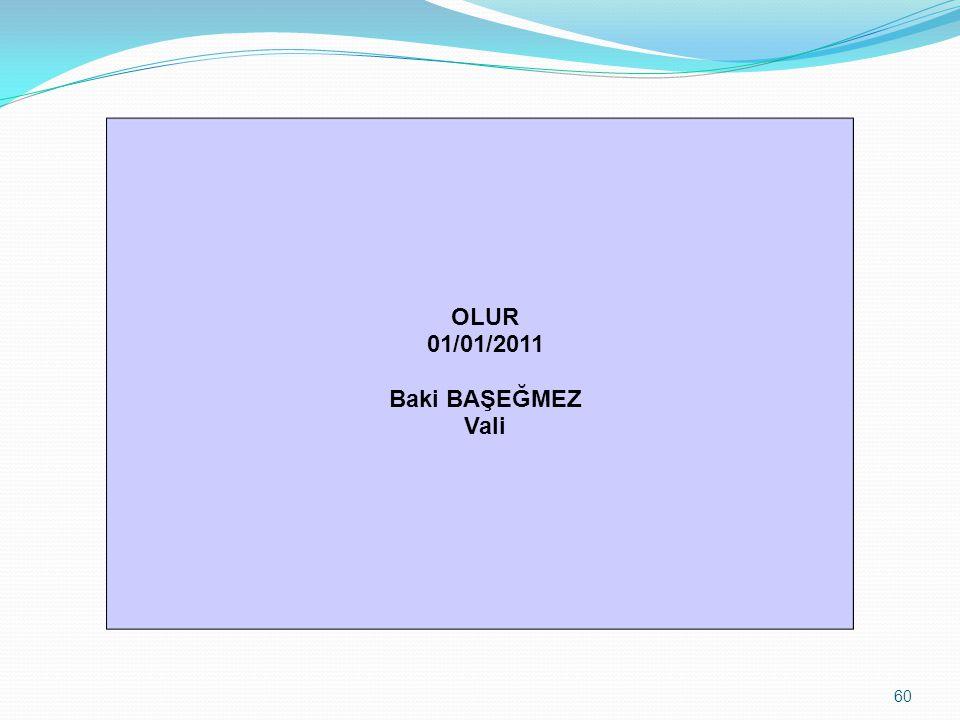 OLUR 01/01/2011 Baki BAŞEĞMEZ Vali