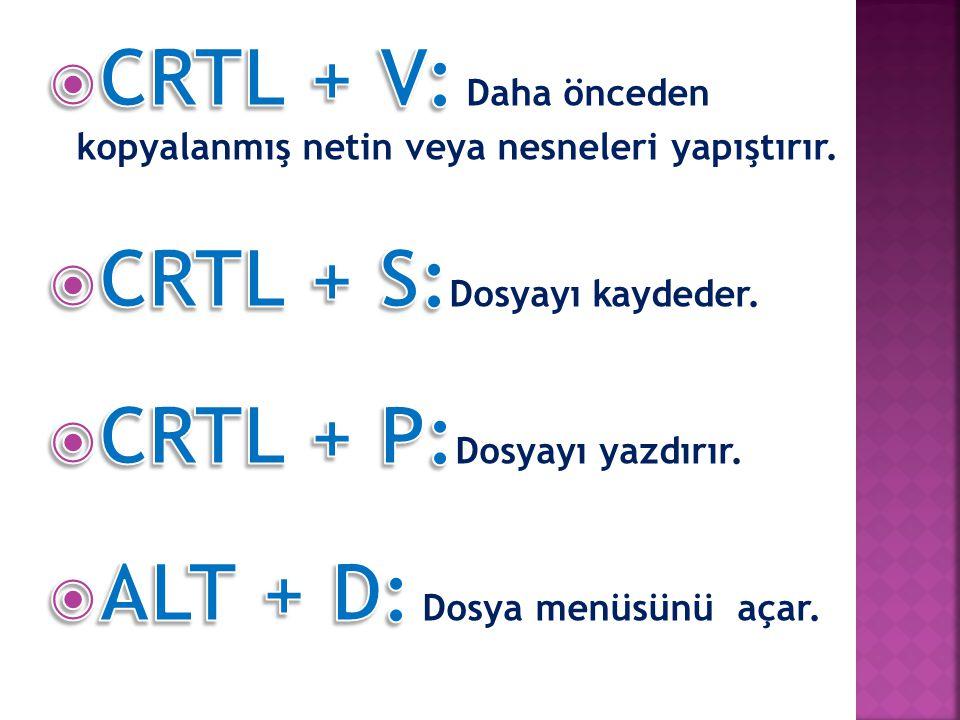 CRTL + V: Daha önceden kopyalanmış netin veya nesneleri yapıştırır.