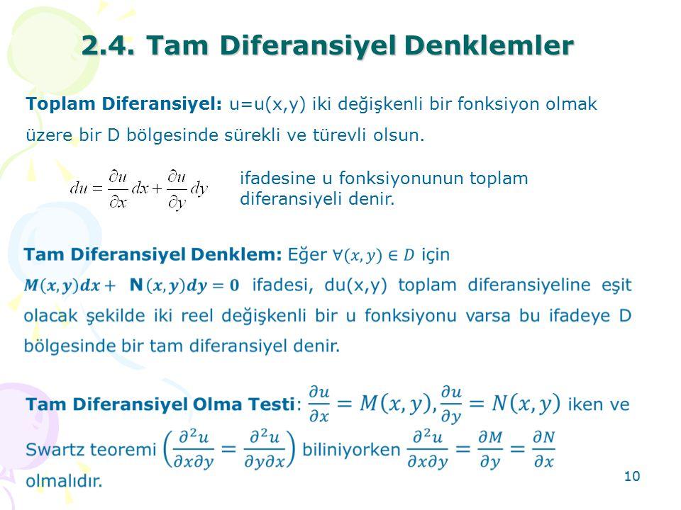 2.4. Tam Diferansiyel Denklemler