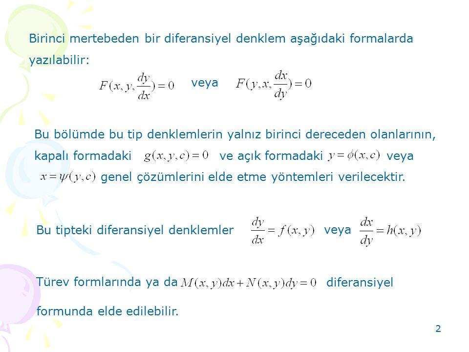 Birinci mertebeden bir diferansiyel denklem aşağıdaki formalarda yazılabilir:
