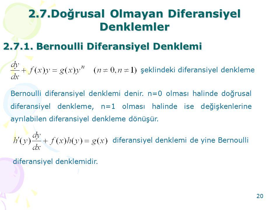 2.7.Doğrusal Olmayan Diferansiyel Denklemler