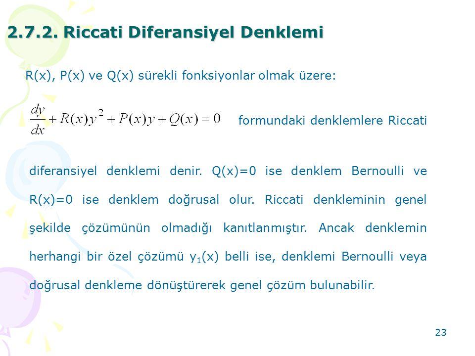 2.7.2. Riccati Diferansiyel Denklemi