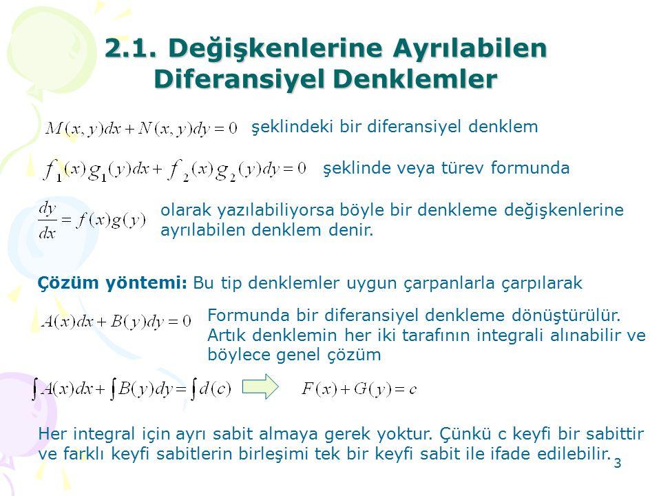 2.1. Değişkenlerine Ayrılabilen Diferansiyel Denklemler
