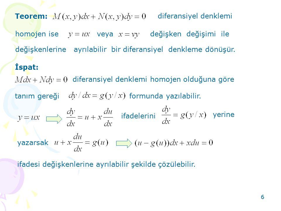 Teorem: diferansiyel denklemi. homojen ise. veya. değişken değişimi ile. değişkenlerine ayrılabilir bir diferansiyel denkleme dönüşür.