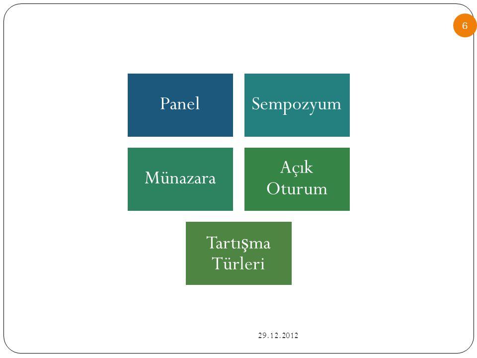Panel Sempozyum Münazara Açık Oturum Tartışma Türleri 29.12.2012