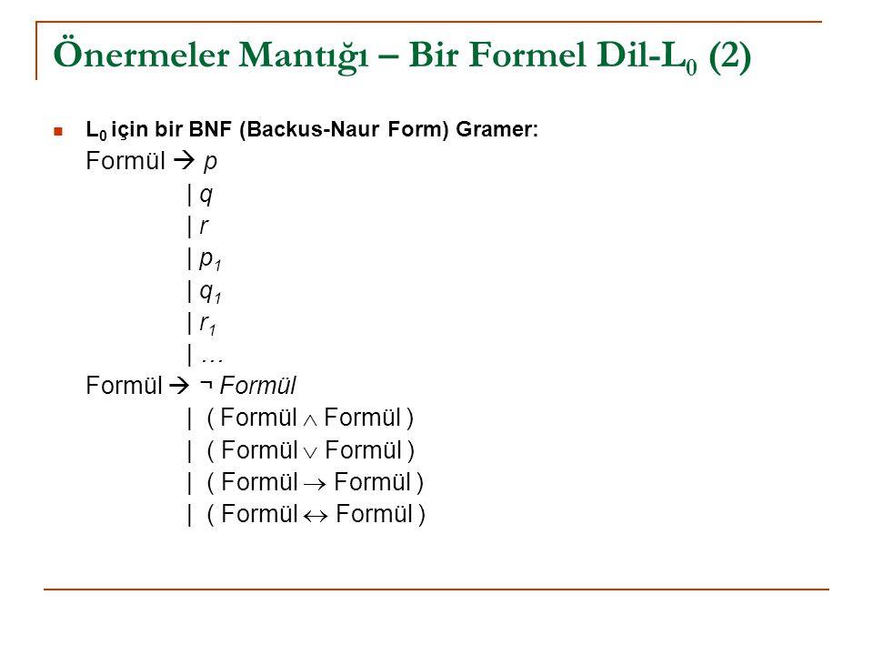 Önermeler Mantığı – Bir Formel Dil-L0 (2)