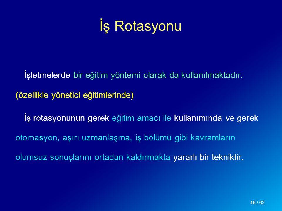İş Rotasyonu İşletmelerde bir eğitim yöntemi olarak da kullanılmaktadır. (özellikle yönetici eğitimlerinde)
