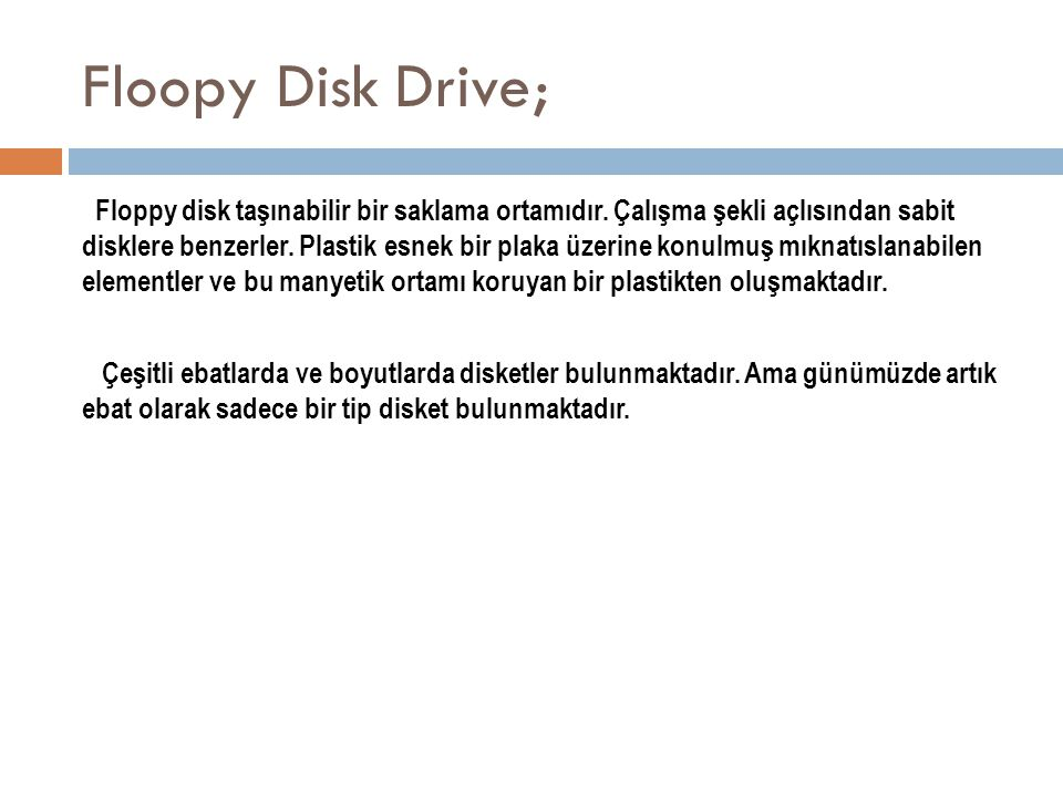 Floopy Disk Drive;