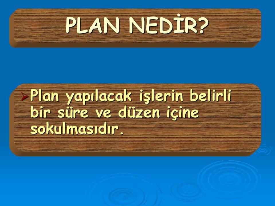 PLAN NEDİR Plan yapılacak işlerin belirli bir süre ve düzen içine sokulmasıdır.