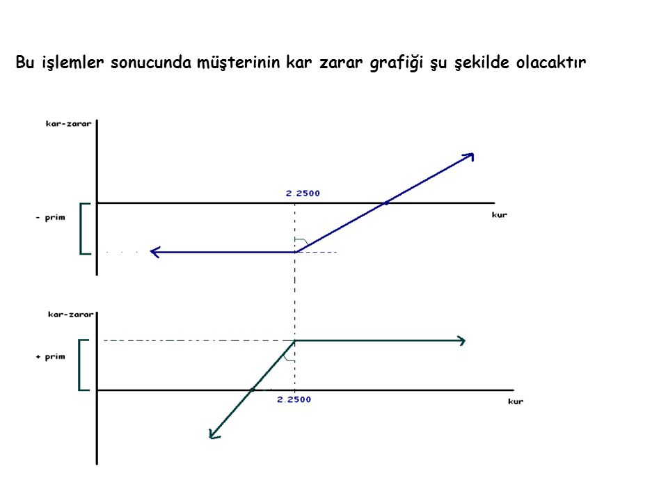 Bu işlemler sonucunda müşterinin kar zarar grafiği şu şekilde olacaktır