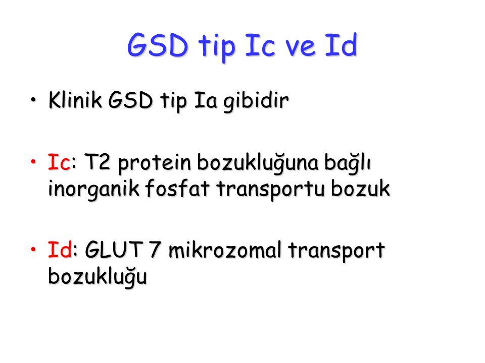 GSD tip Ic ve Id Klinik GSD tip Ia gibidir