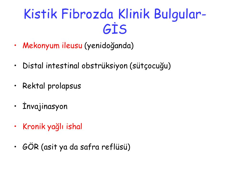 Kistik Fibrozda Klinik Bulgular- GİS