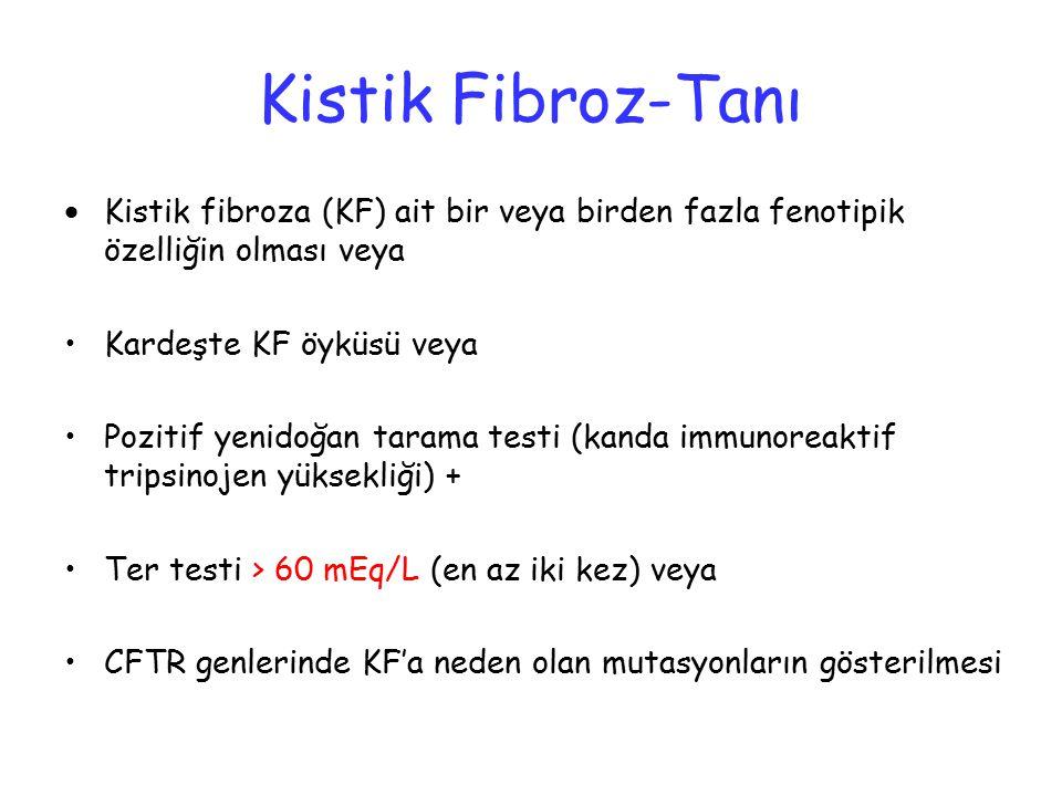 Kistik Fibroz-Tanı Kistik fibroza (KF) ait bir veya birden fazla fenotipik özelliğin olması veya. Kardeşte KF öyküsü veya.