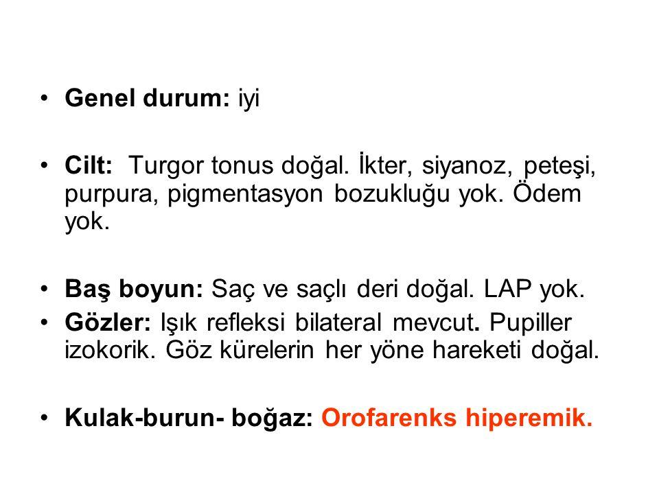 Genel durum: iyi Cilt: Turgor tonus doğal. İkter, siyanoz, peteşi, purpura, pigmentasyon bozukluğu yok. Ödem yok.