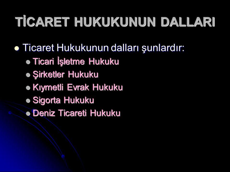 TİCARET HUKUKUNUN DALLARI