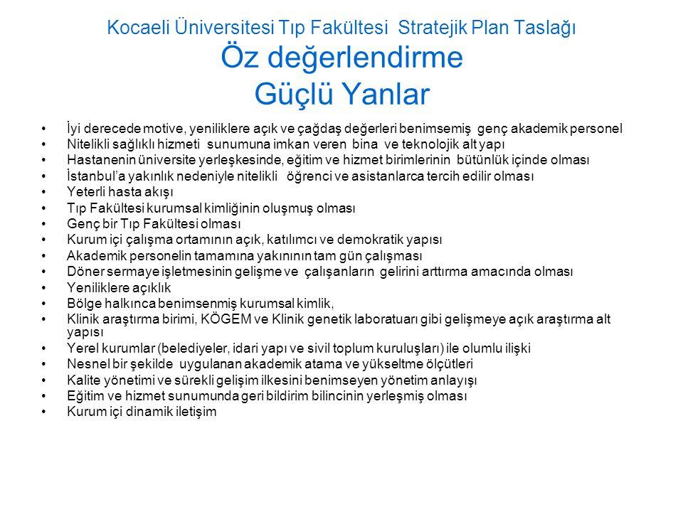Kocaeli Üniversitesi Tıp Fakültesi Stratejik Plan Taslağı Öz değerlendirme Güçlü Yanlar