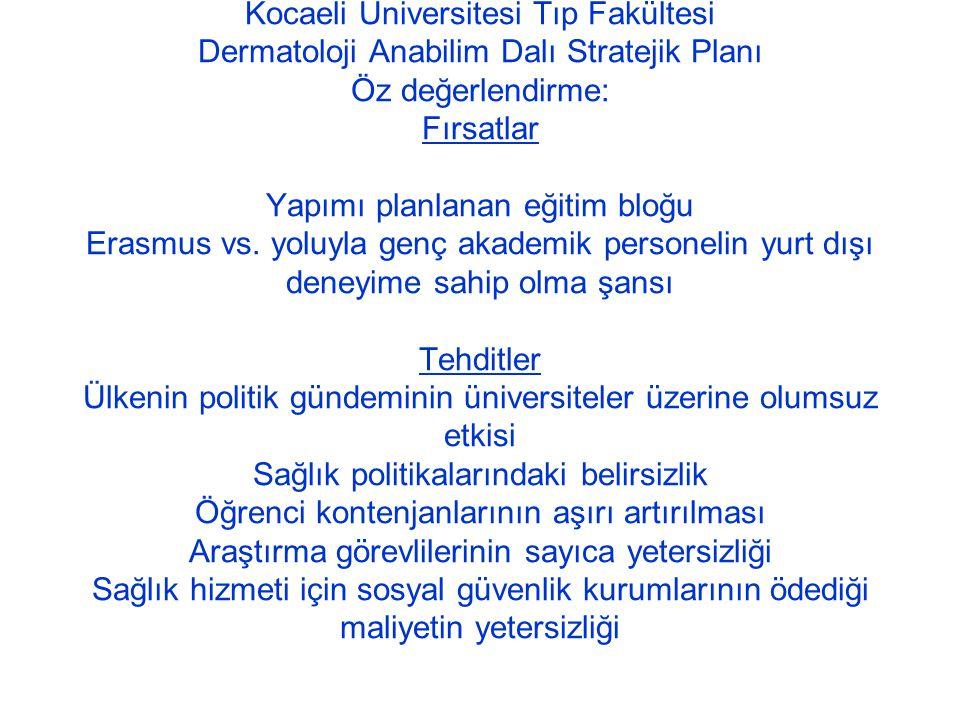 Kocaeli Üniversitesi Tıp Fakültesi Dermatoloji Anabilim Dalı Stratejik Planı Öz değerlendirme: Fırsatlar Yapımı planlanan eğitim bloğu Erasmus vs.