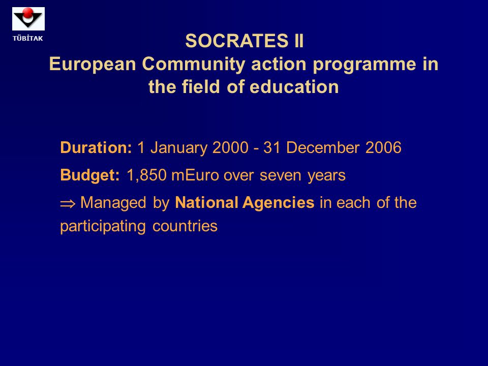 SOCRATES II European Community action programme in the field of education