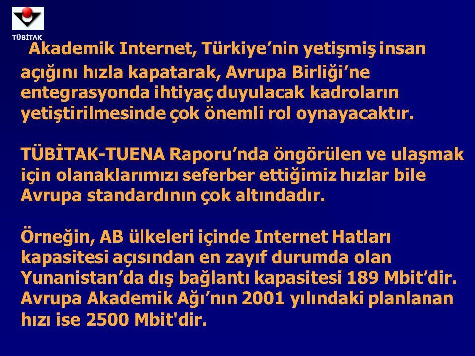 Akademik Internet, Türkiye'nin yetişmiş insan açığını hızla kapatarak, Avrupa Birliği'ne entegrasyonda ihtiyaç duyulacak kadroların yetiştirilmesinde çok önemli rol oynayacaktır.