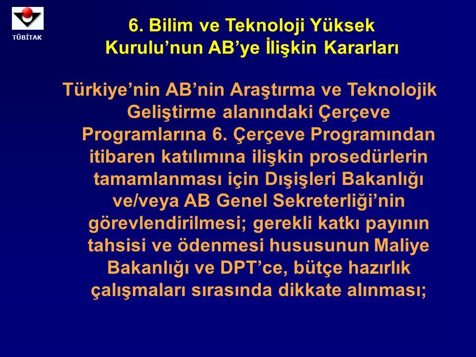 6. Bilim ve Teknoloji Yüksek Kurulu'nun AB'ye İlişkin Kararları
