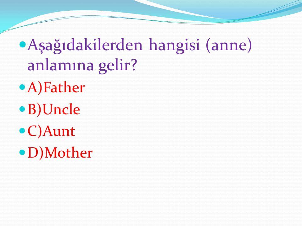 Aşağıdakilerden hangisi (anne) anlamına gelir