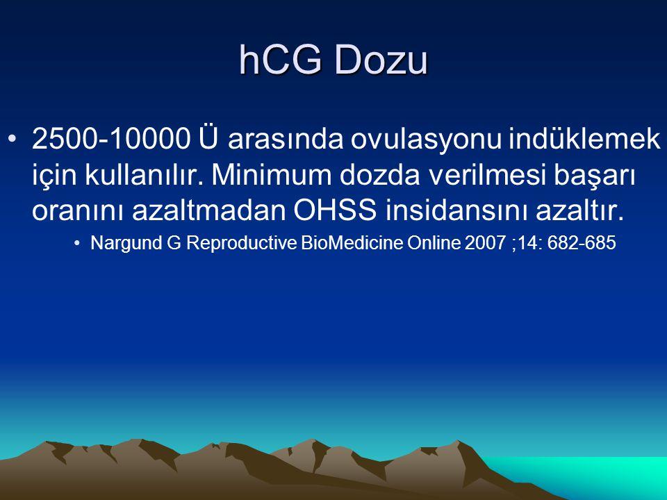 hCG Dozu 2500-10000 Ü arasında ovulasyonu indüklemek için kullanılır. Minimum dozda verilmesi başarı oranını azaltmadan OHSS insidansını azaltır.