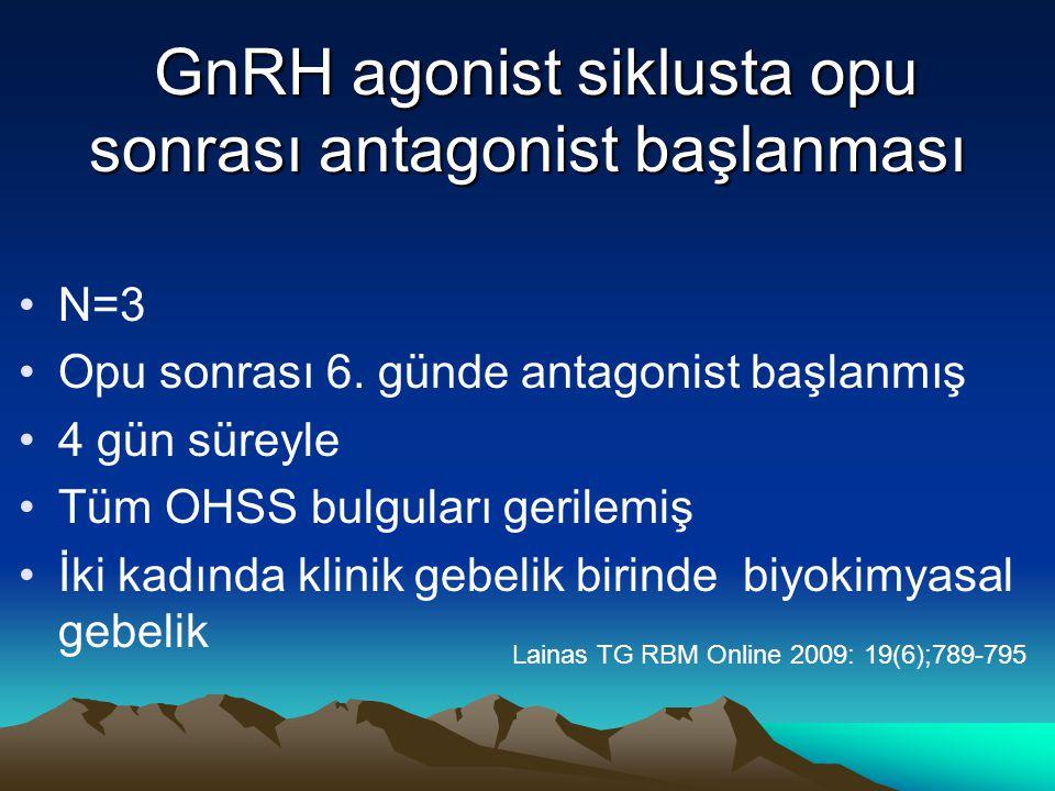 GnRH agonist siklusta opu sonrası antagonist başlanması