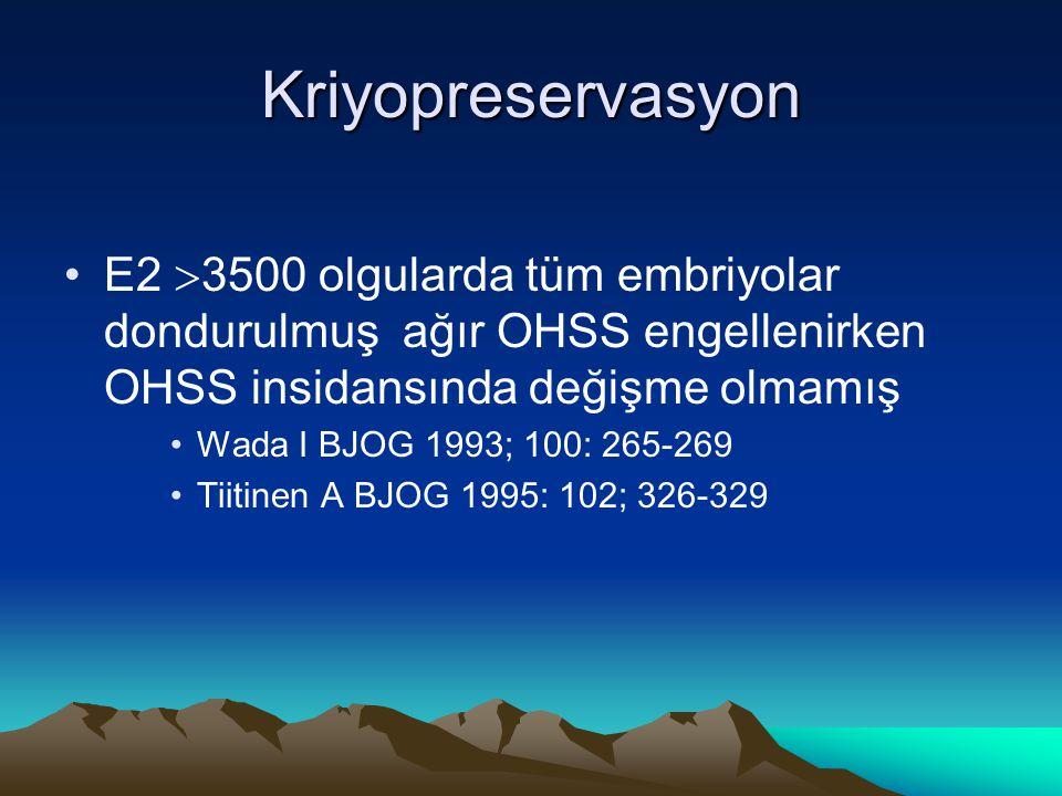 Kriyopreservasyon E2 3500 olgularda tüm embriyolar dondurulmuş ağır OHSS engellenirken OHSS insidansında değişme olmamış.