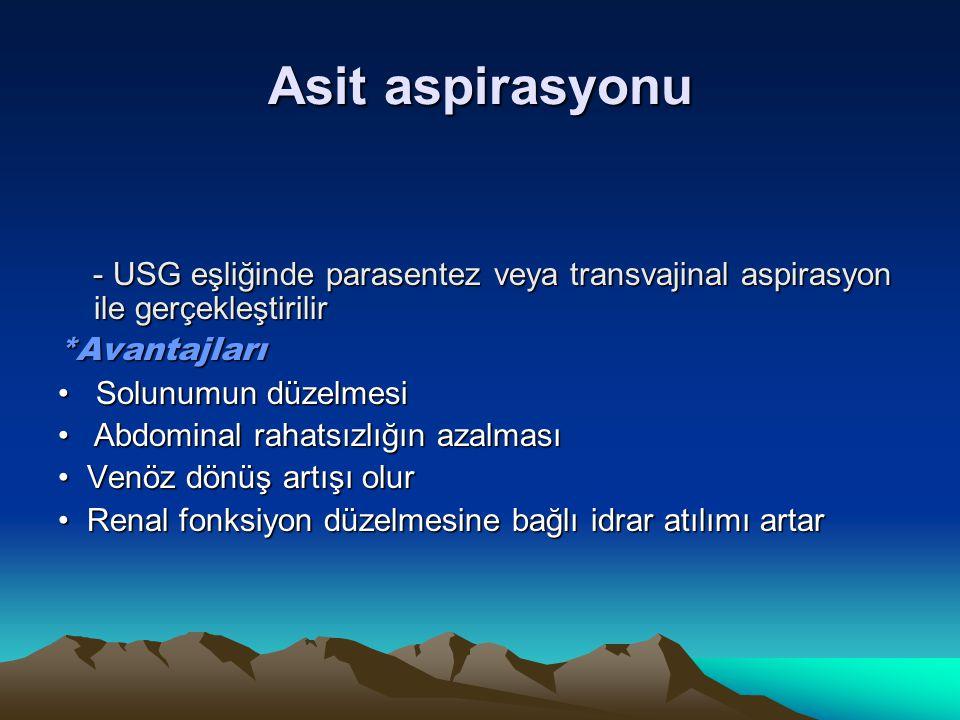Asit aspirasyonu - USG eşliğinde parasentez veya transvajinal aspirasyon ile gerçekleştirilir. *Avantajları.