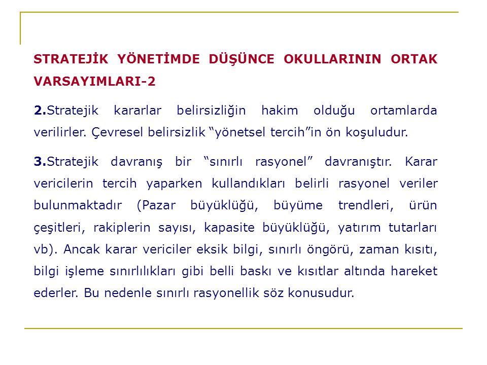 STRATEJİK YÖNETİMDE DÜŞÜNCE OKULLARININ ORTAK VARSAYIMLARI-2