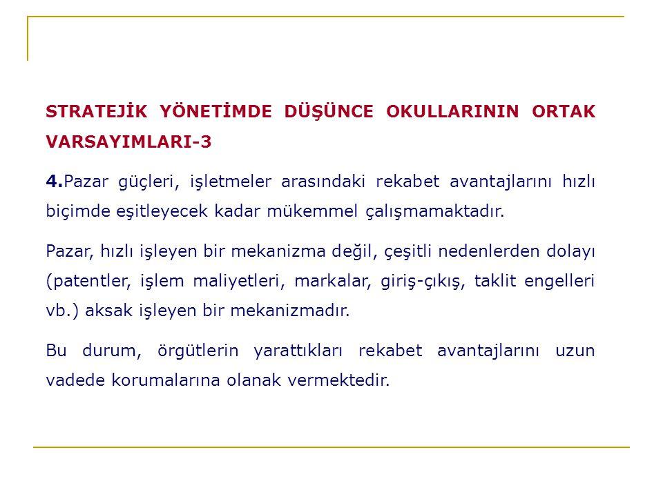 STRATEJİK YÖNETİMDE DÜŞÜNCE OKULLARININ ORTAK VARSAYIMLARI-3