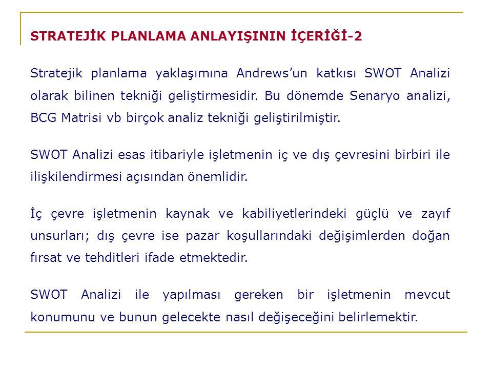 STRATEJİK PLANLAMA ANLAYIŞININ İÇERİĞİ-2
